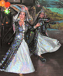 Dancers in national Bukharian dress perform at a Lag b'Omer celebration on May 26, 2005.