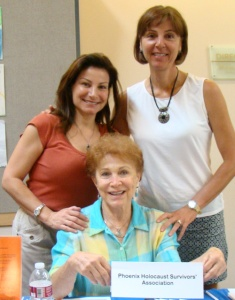 Representatives from the Phoenix Holocaust Survivors' Association and Generations After share a booth at the Aug. 11 Valley of the Sun JCC open house. Clockwise from left are Cindy Katz, Janice Friebaum and Marion Weinzweig. Photo by Jan Hancock